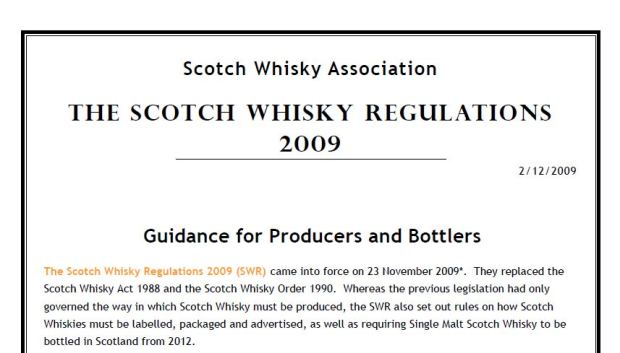 Scotch Whisky Regulations