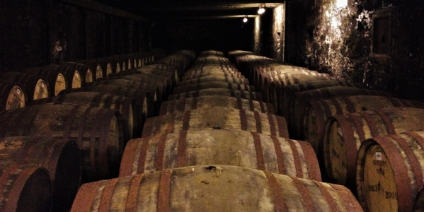Whisky slowly maturing in Bowmore's famous Vault 1 warehouse