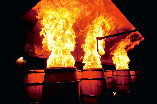 Casks being heavily charred before use